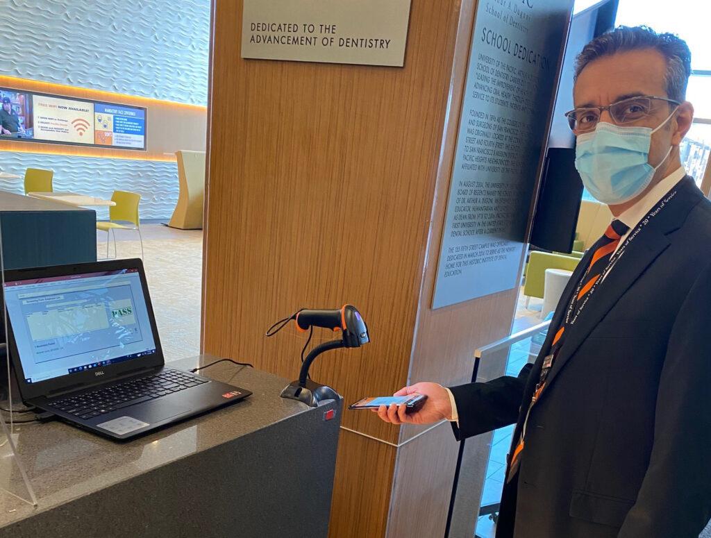 Dr. Nadershahi in a mask