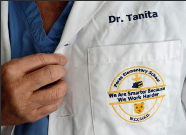 Dr. Dan Tanita's white coat